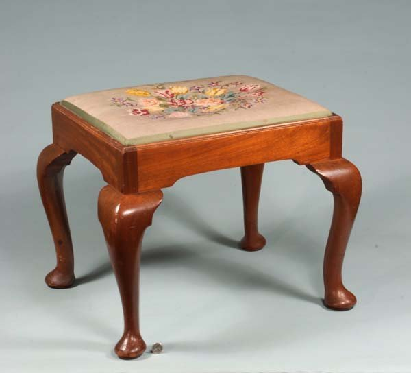 13: Queen Anne style mahogany stool on cabriole legs wi