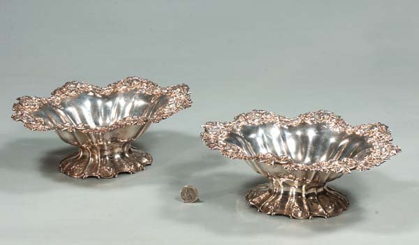 14: Pair of oval sterling silver compotes with reticula
