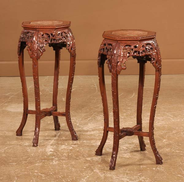 16: Pair of Chinese carved teakwood stands with inset m
