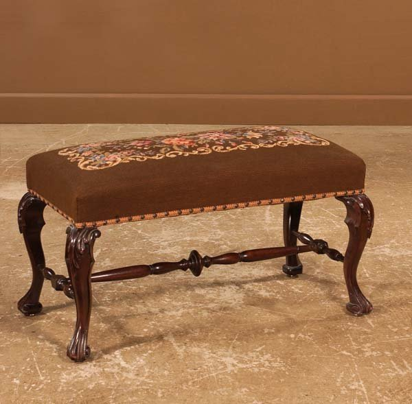 21: Queen Anne style mahogany bench with needlepoint cu