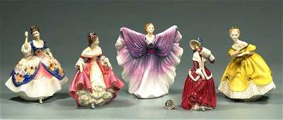 152: Collection of five Royal Doulton figures of women,
