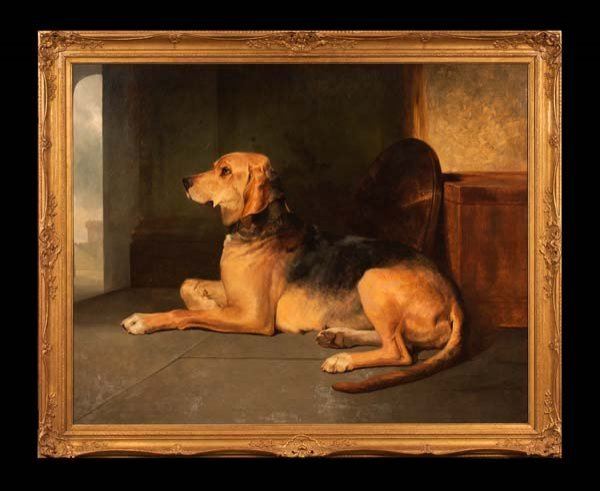 273: 19th century oil painting on canvas of a large dog
