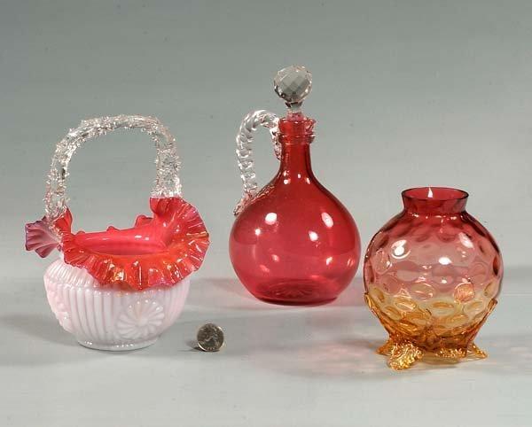 4: Cranberry cruet, a pink overly basket, AF (basket cr