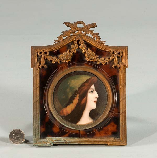 6: Miniature portrait of woman in bronze frame