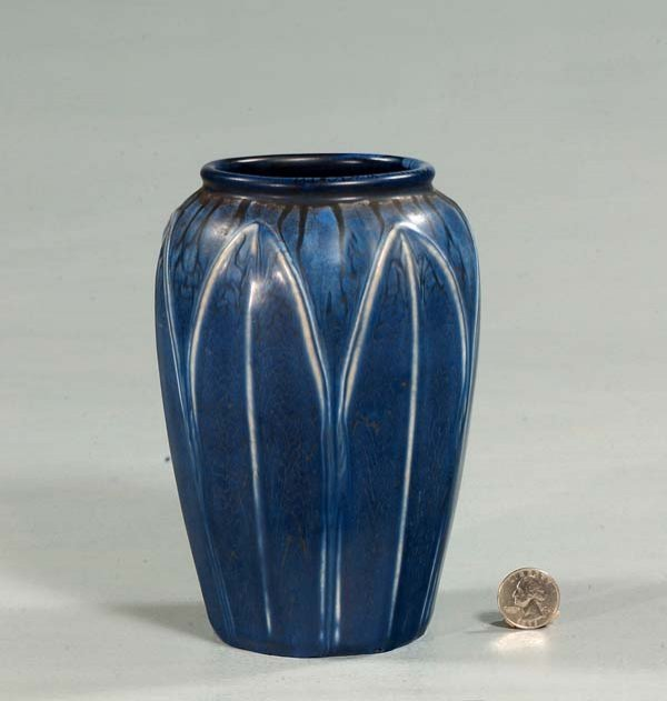 8: Blue Hampshire pottery vase with leaf design, c.1910