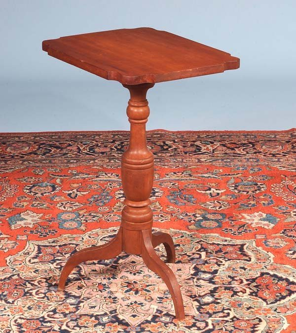 9: American cherry tripod tip table with shaped corners