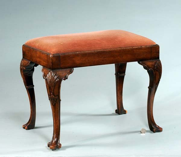 10: Queen Anne walnut stool on cabriole legs with shell