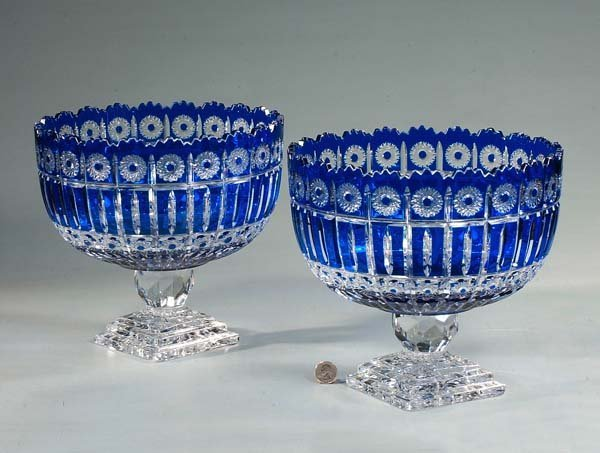 11: Pair of cobalt blue overlay cut crystal compotes wi