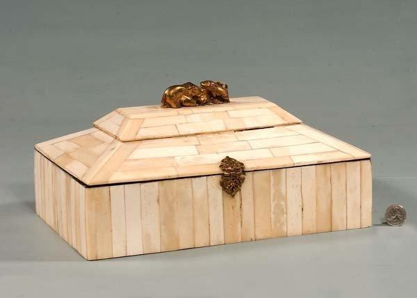 "13: Unusual ivory jewelry box with brass mounts, 13"" wi"