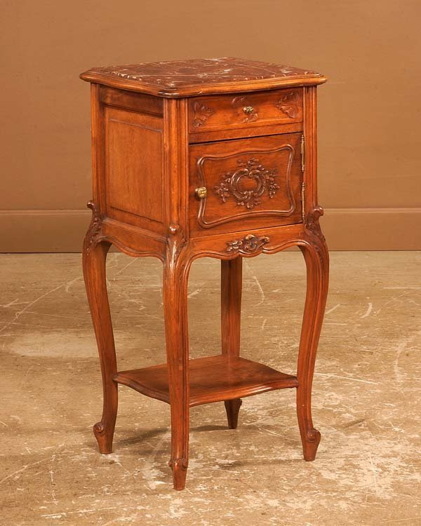 14: Louis XV carved walnut marble top bed side cabinet,