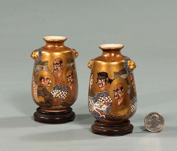 15: Pair of Satsuma cabinet vases with figural decorati