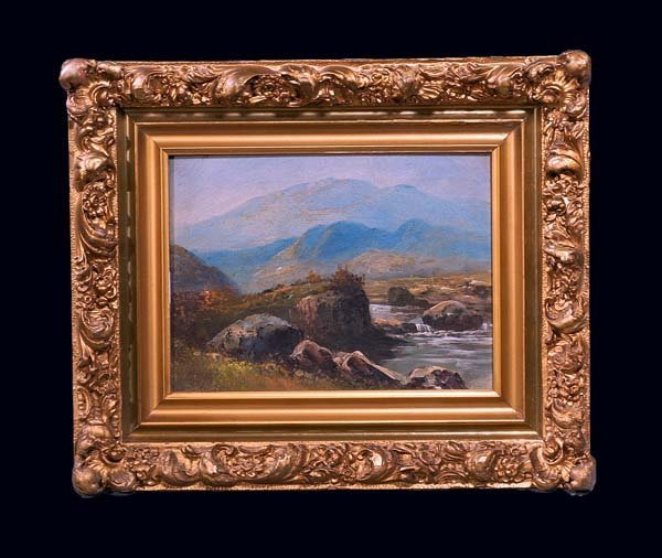 18: Oil painting on canvas, landscape scene with stream