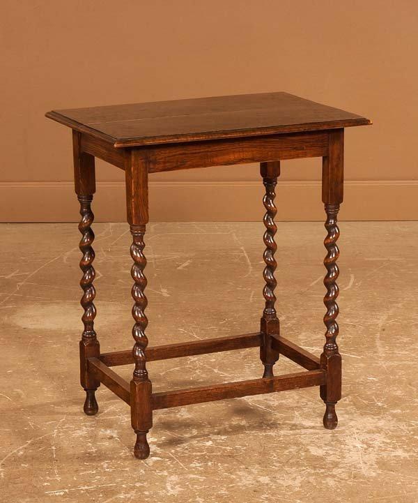 19: Jacobean style oak side table on barley twist legs