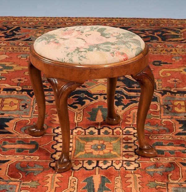 22: Queen Anne walnut circular stool on cabriole legs w