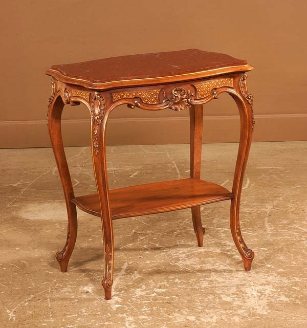 24: Louis XV carved walnut marble top salon table with
