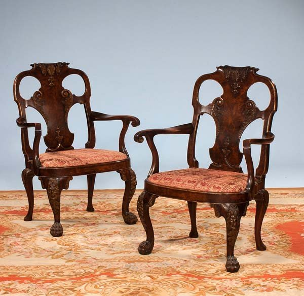 164: Exceptional pair of Georgian walnut armchairs with