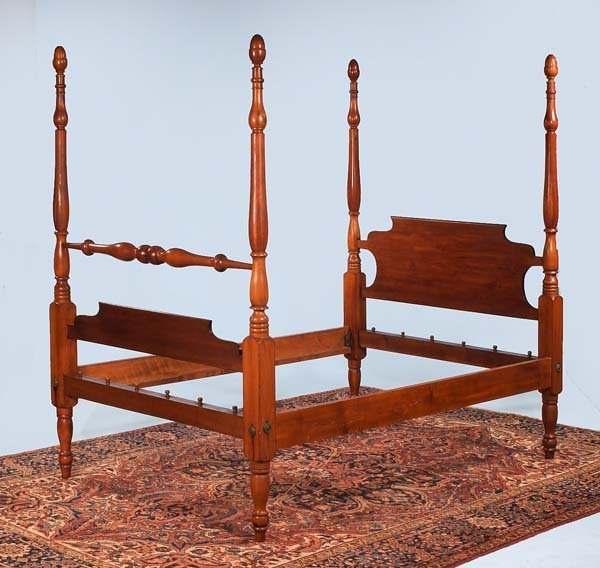 317: American cherry four poster bed with acorn finials