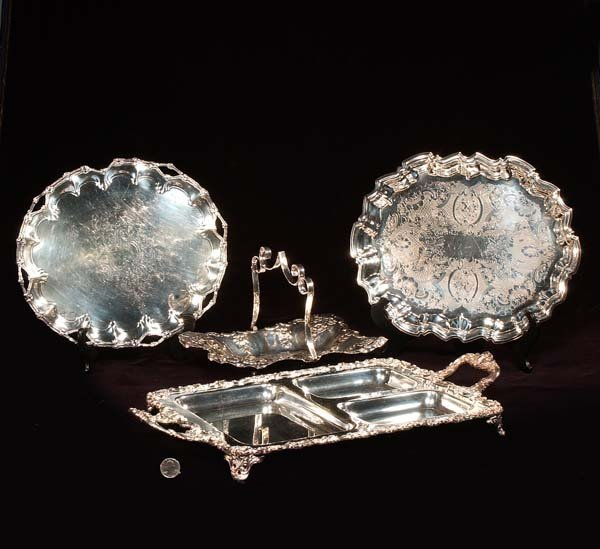 1: Silver plated divided tray, two oblong trays and a b