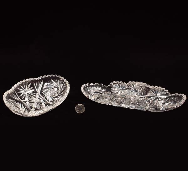 4: Two oval cut crystal relish dishes