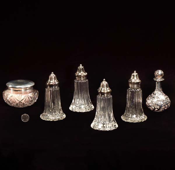 6: Group of four crystal sugar shakers, one cologne bot