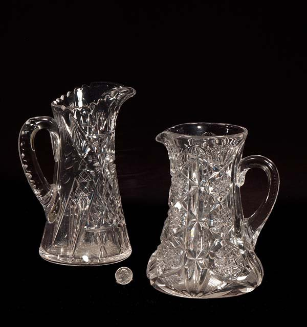 7: Two fine cut crystal water pitchers