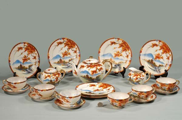 8: Keutani porcelain tea set with leaf and scenic decor