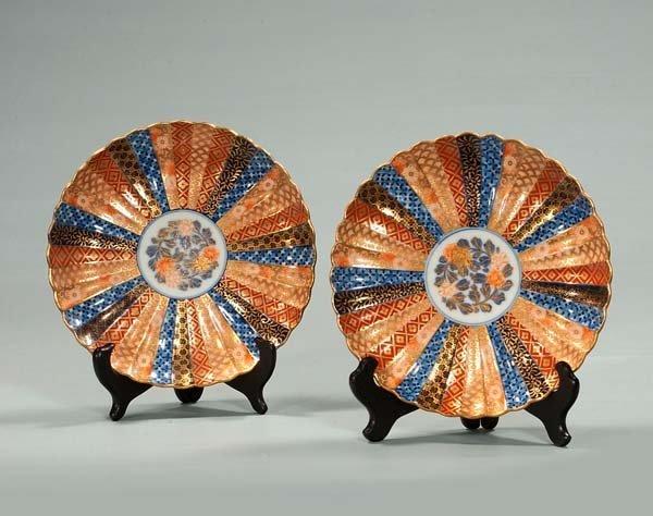 13: Pair of Imari porcelain plates with cobalt blue, go