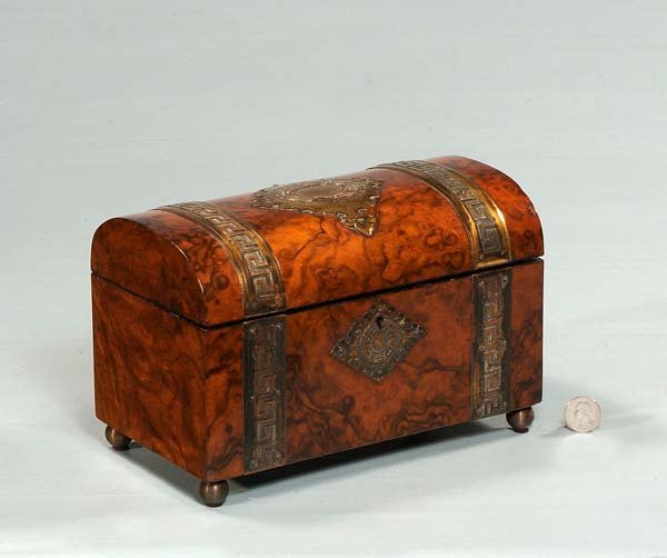 14: English brass bound walnut tea caddy with fitted in