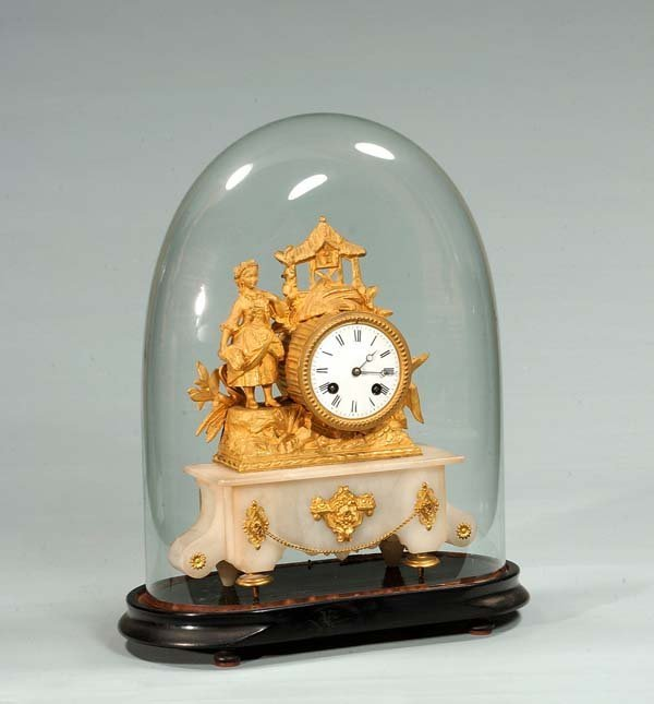 15: French bronze and onyx mantle clock with glass dome