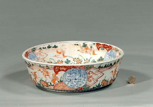 20: Imari porcelain bowl with bird and floral decoratio