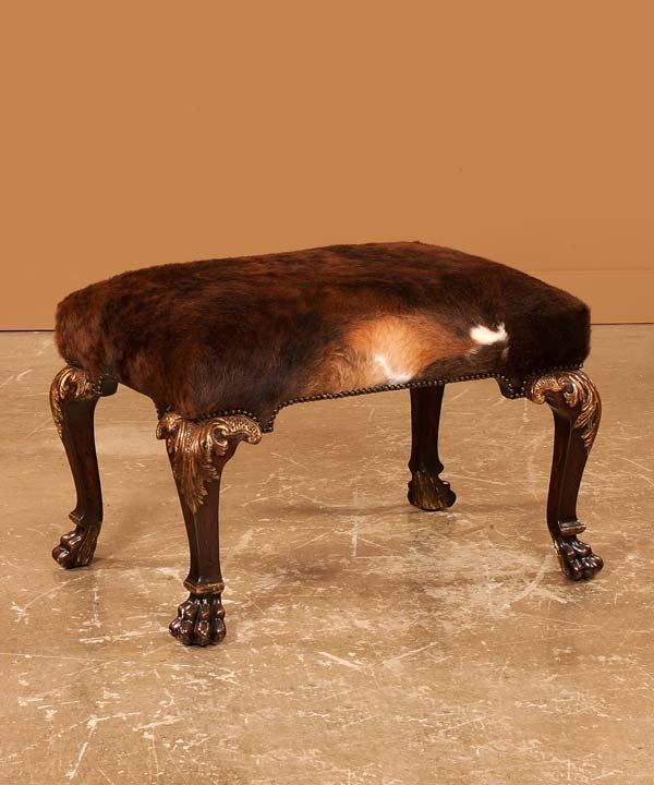 21: Chippendale style mahogany stool on carved and gold