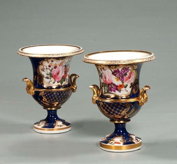 22: Pair of Old Paris porcelain urns with floral decora