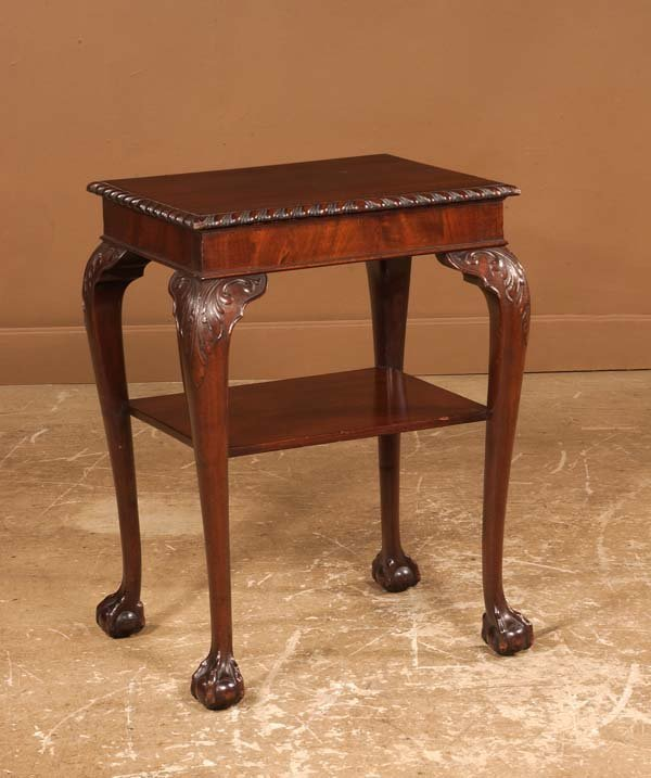 24: Chippendale mahogany tea table with gadroon carved