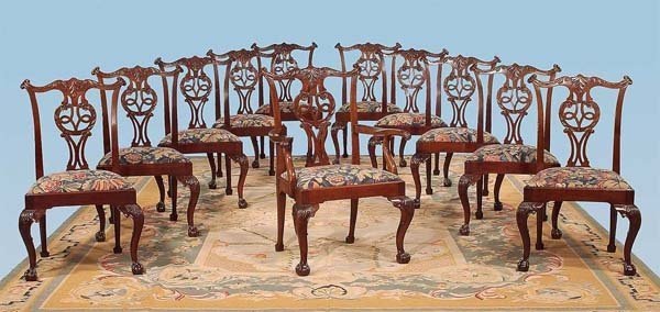 56: Important set of twelve Chippendale mahogany dining