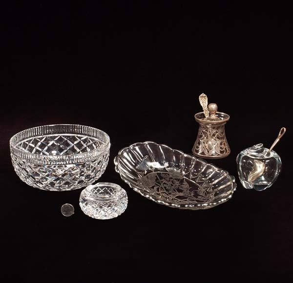 "430: Tiffany"" crystal apple form jam dish, round Waterf"