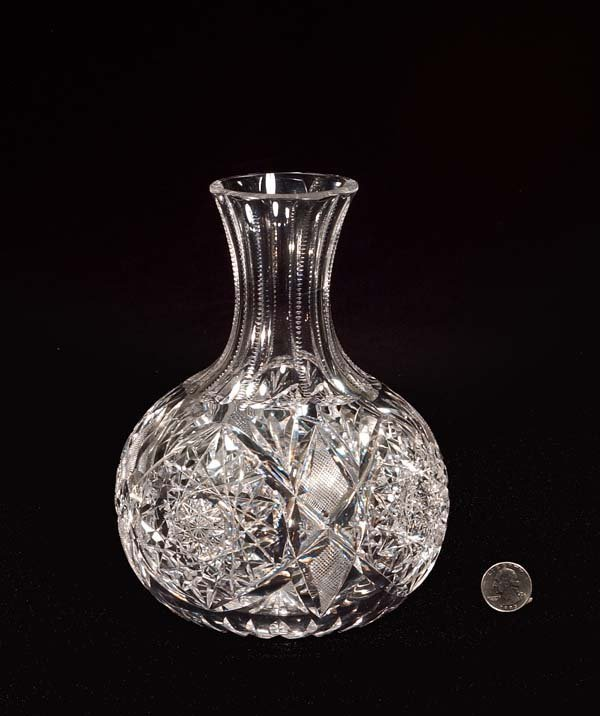 "433: Cut crystal water bottle, signed ""Libbey,"" 8-1/2"""