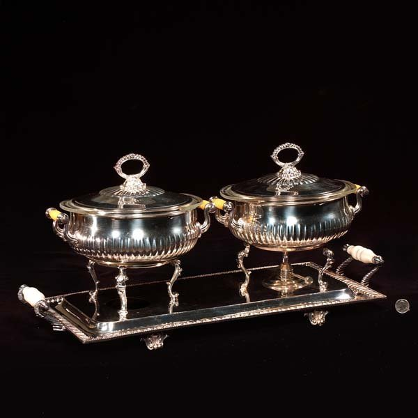 442: Double silver plated chafing dish, As Found (one b