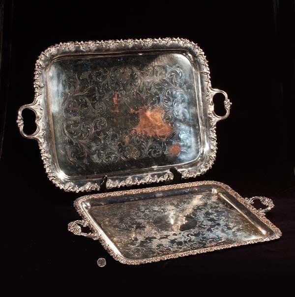 444: Two large silver plated serving trays, As Found (s