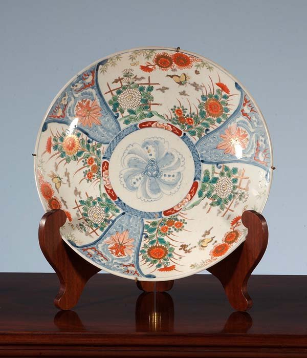 448: Imari porcelain charger with butterfly and floral