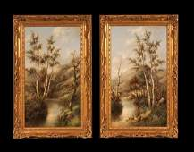 462: Pair of 19th century vertical river scene painting