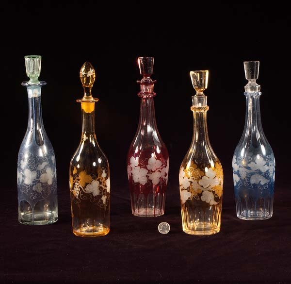 1: Group of five Bohemian overlay crystal decanters, ap