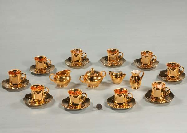 3: Group of 10 gold demitasse cups and saucers and two
