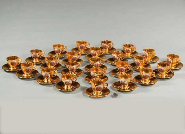 6: Group of 24 gold demitasse cups and saucers with cla