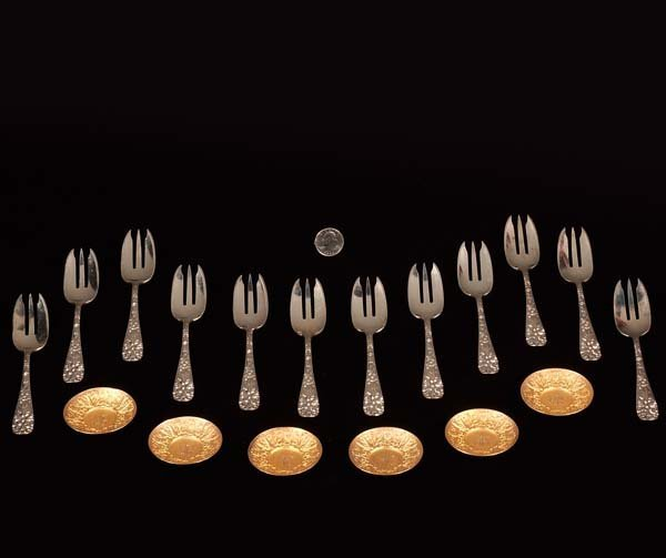 "12: Group of 12 sterling silver salad forks by ""James A"