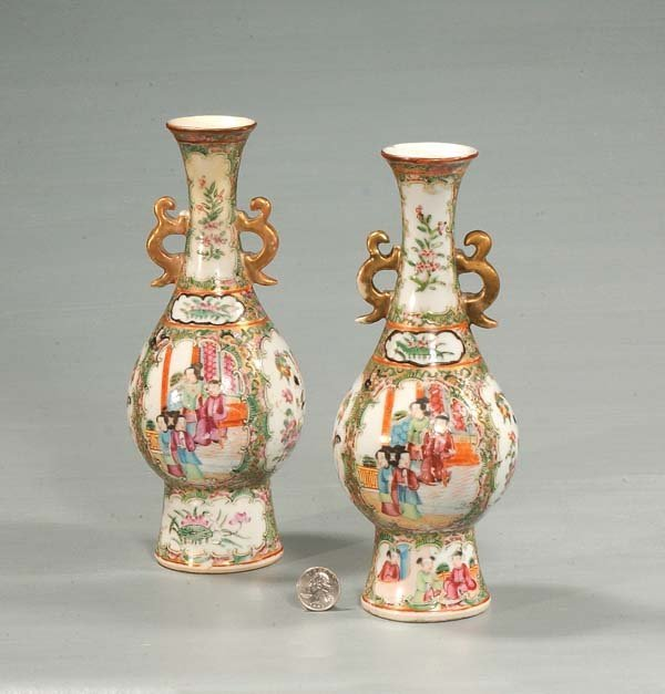 15: Pair of small Chinese rose medallion porcelain vase