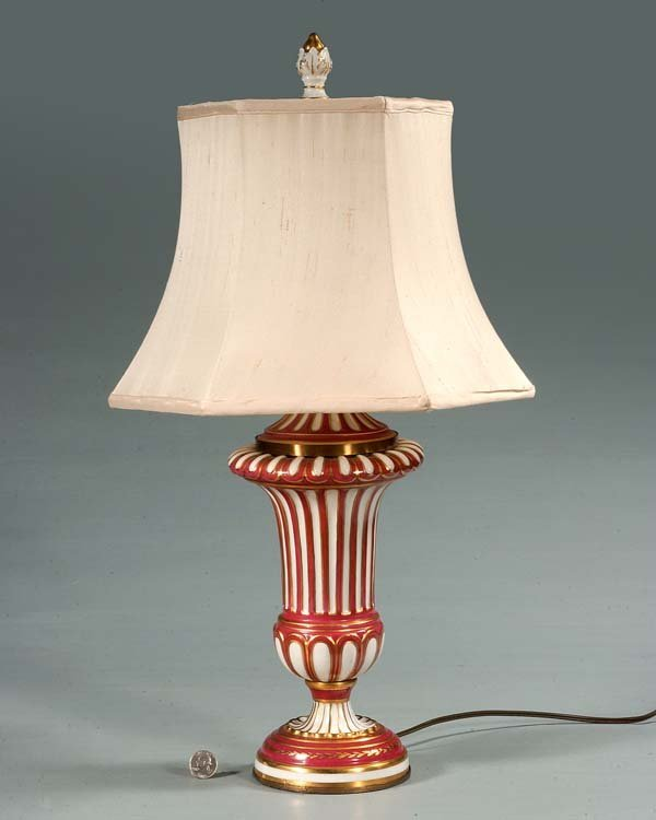 "17A: Porcelain urn shaped lamp with fluted sides, 25"" h"