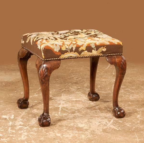 18: Chippendale mahogany stool with shell carved knees,