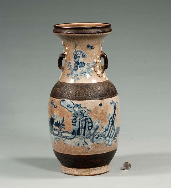 19: Chinese blue and crackle ware vase with brown belts