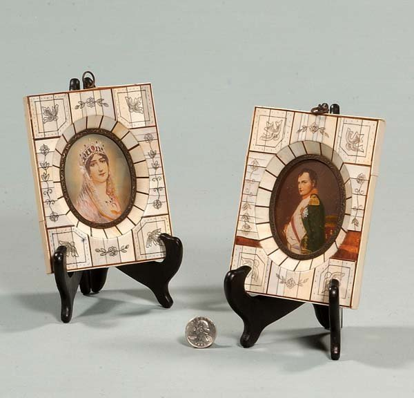 23: Pair of oval miniature paintings on ivory in ivory