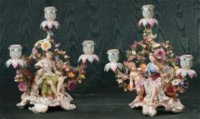 73: Exquisite pair of Meissen porcelain candelabra with